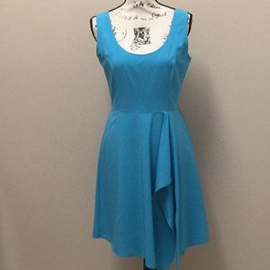 Badgley Mischka aqua sheath dress with overlay